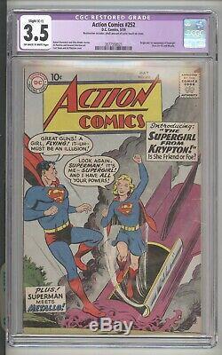 Action Comics # 252 Origiin Et 1er App De Supergirl DC Comics / 1959 Cgc 3.5