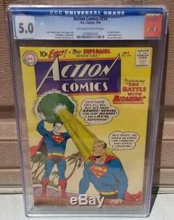 Action Comics # 254 Cgc 5.0 Oww Pages 1er Bizarro 1 Superman Lex Luthor 1959