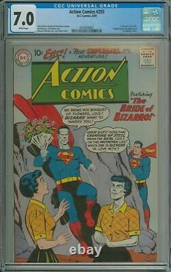 Action Comics #255 Cgc 7.0 Wp 1er Bizarro Lois Lane Supergirl Tommy Demain
