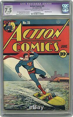 Action Comics # 25 Cgc 7.5 Restaurer 1940 1138393015