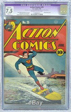 Action Comics # 25 Cgc 7.5 Superman Couverture 1940 Shuster Dernière Application Gargantua