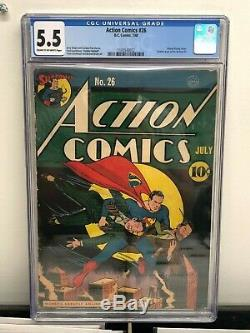 Action Comics # 26 Cgc 5.5 F- Jerry Siegel Histoire Sheldon Moldoff Art 1940