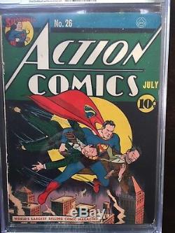 Action Comics # 26 Cgc Fn / Vf 7.0 Cm-ow Rare Couverture Classique