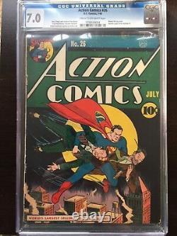 Action Comics #26 Cgc Fn/vf 7.0 Cm-ow Rare Couverture Classique