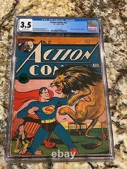 Action Comics #27 Cgc 3.5 1er Lois Lane Cover! Rare Low Pop Book Superman Cover