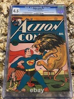 Action Comics #27 Cgc 4.5 1st Lois Lane Cover! Rare Low Pop Book Superman Coverousse