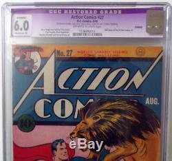 Action Comics # 27 Cgc 6.0 Superman Couverture 1940 Siegel 1/2 Pg Annonce All-star Comics 1