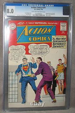 Action Comics #297 Mon-el Supergirl Première Application Complète Général Zod 1963 Cgc Vf 8.0