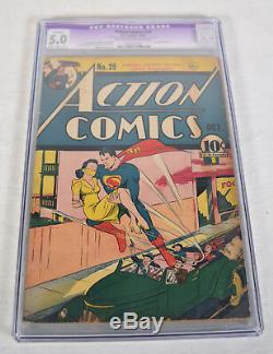 Action Comics 29 DC 1940 Cgc 5.0 Superman 1st Couverture De Lois Lane