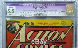 Action Comics # 30 Cgc 5.5 Superman Cover 1940 1ère Application & Mort De Zolar