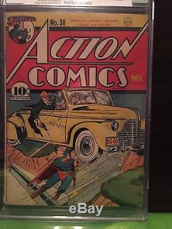 Action Comics # 30 Cgc Vg / Fn 5.0 Ow Baily Art