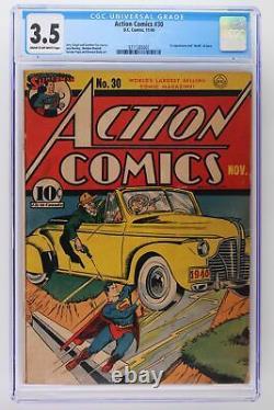 Action Comics #30 DC 1940 Cgc 3.5 -superman- 1ère App & Mort De Zolar