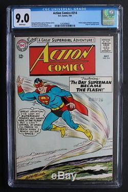 Action Comics # 314 Superman Devient Flash Jla 1964 Origine Supergirl Cgc Vfnm 9.0