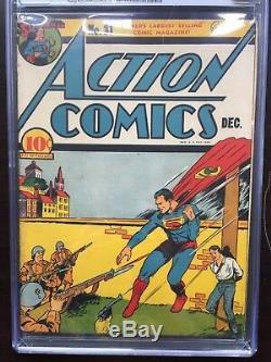 Action Comics # 31 Cgc Vg / Fn 5.0 Ow Superman Équipe Tir Couverture Bondage