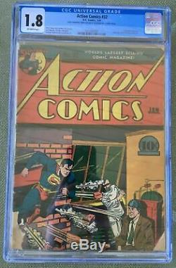 Action Comics # 32 (1941) Cgc 1.8 - 1er Krypto Ray Gun! Jerry Seigel Gardner Fox
