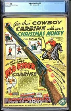 Action Comics # 32 Cgc 4.5 1941 Superman 1er Krypto Ray-gun Couverture Électrocution