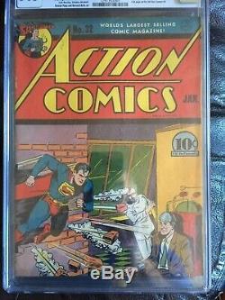 Action Comics # 32 Cgc Fn / Vf 7.0 Couverture De Servitude Cm-ow 1er Krypto Ray Gun