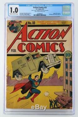 Action Comics # 33 Cgc __gvirt_np_nn_nnps<__ 1.0 Fr DC 1941 Superman! Origine Mr. America