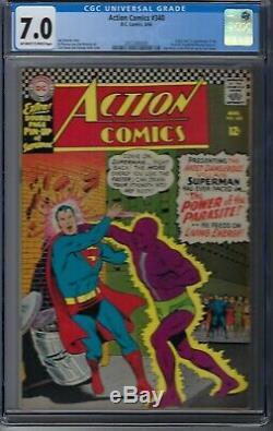 Action Comics # 340 Cgc 7.0 DC Origine 1er Apparence De Parasite 1966