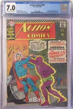 Action Comics # 340 Cgc 7.0 Fn / Vf 1er Apparition De Parasite 1966