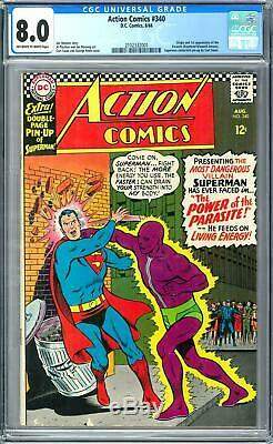 Action Comics # 340 Cgc 8.0 (ow-w) Origine Et 1er Apparence Du Parasite