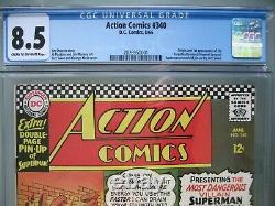 Action Comics #340 Cgc 8.5 1966 Origine Et 1ère Application Parasite (raymond Jensen)