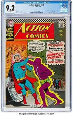 Action Comics # 340 Superman Cgc 9.2 8/66 1er App. Parasite Centerfold Pin-up