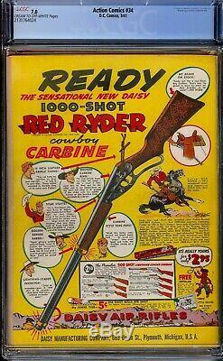 Action Comics # 34. Cgc 7.0 Fvf. Superman 1941 De Sharp