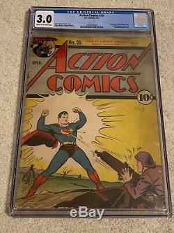Action Comics # 35 Cgc 3.0 Early Superman DC Comics Bd