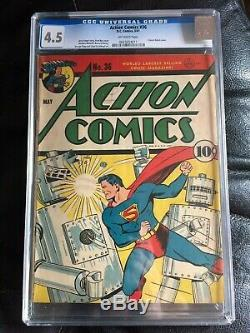 Action Comics # 36 Cgc Vg + 4.5 Ow Robot Classique Fred Ray Cvr, Art Baily