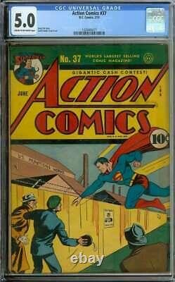 Action Comics #37 Cgc 5.0 Cr/ow Pages // Golden Age Superman Cover