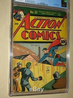 Action Comics # 37 (dc L'âge D'or 1941) Superman, Origine Du Congo Bill Cgc 4.0