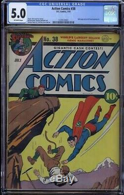 Action Comics # 38 Cgc 5.0 1941 Off Pages Blanches