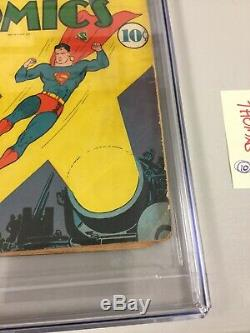 Action Comics 39, Cgc 3,0 (g / Vg), DC Comics 1941, Début De La Guerre Allemande Couverture