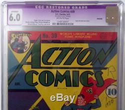 Action Comics # 39 Cgc 6.0 Couverture Superman 1941 Couverture Guerre Allemande