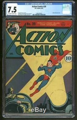 Action Comics 39 Cgc Classé Vfn Minus Fantastique Couverture En Temps De Guerre Très Difficile À Trouver