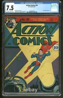Action Comics 39 Cgc Vfn Minus Fantastique Couverture En Temps De Guerre Très Difficile À Trouver