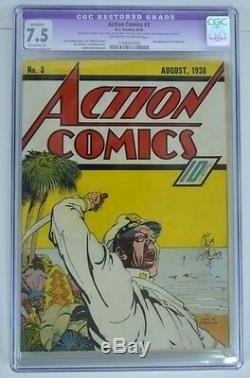 Action Comics # 3 Cgc 7.5 3ème App Superman 1938 Rare Pgs Blanc Cassé