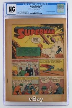 Action Comics # 3 Cgc Ng - Sans Couvercle - DC 1938 3ème App De Superman