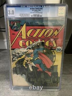 Action Comics #41 Cgc 3.0 (gd/vg) Early Superman 1941 Classic Train Cover
