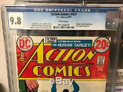 Action Comics # 423 Cgc 9.8 Pages Blanches Le Plus Gradé Copy
