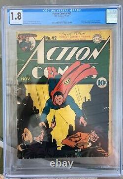 Action Comics #42 (1941) Cgc 1.8 - 1ère & Origine Vigilante Lex Luthor App