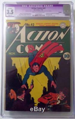 Action Comics # 42 Cgc 3.5 Superman 1942 Origine / 1ère Appli Vigilante 1 Er Homme Gras