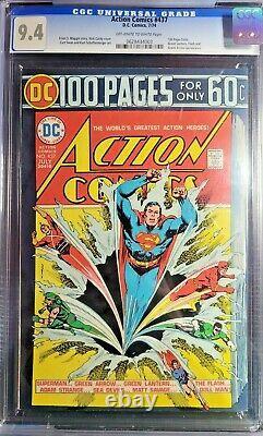 Action Comics 437 (cgc 9.4) Owithwp 1er Numéro De 100 Pages Nick Cardy Cover 1974