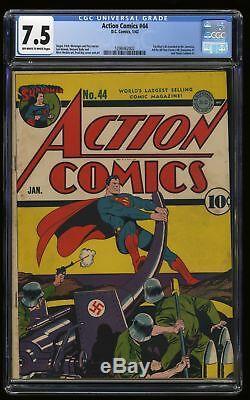 Action Comics # 44 Cgc Vf- 7.5 Naz De Couverture De Guerre Classique