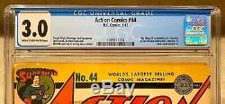 Action Comics # 44 Comic Book 1942 Janvier 1/42 Cgc D. C. Guerre Comics Superman