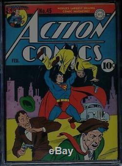 Action Comics # 45 Cgc-6.5, Ow-w Superman 1er Stuff, Vigilante Sidekick