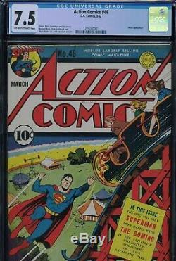 Action Comics # 46 Cgc-7.5, Ow-w Superman Haute Qualité