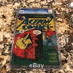 Action Comics # 47 Cgc 5.0 Pages Blanches Rare 1er Lex Luthor Couverture! Superman Clé
