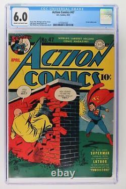 Action Comics #47 DC 1942 Cgc 6.0 1er Lex Luthor Cover Superman
